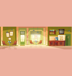 Cartoon cafe background cafeteria interior vector