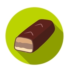 Chocolate bar icon in flat style isolated on white vector image