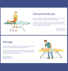 Chocolate body spa and massage procedures masseur vector