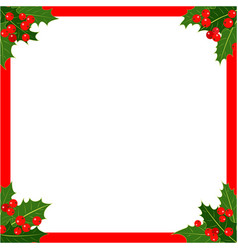 Christmas card red frame with holly vector
