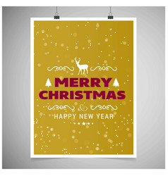 christmas card with yellow background and snow vector image