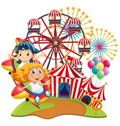 Circus scene with kids on the ride vector