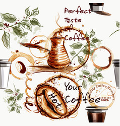 Coffee wallpaper pattern with coffee grains cups vector
