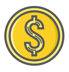 Coin dollar filled outline icon business finance vector