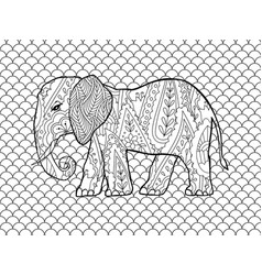 Coloring page with doodle style elephant in vector