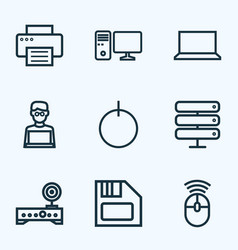 computer outline icons set collection of printer vector image