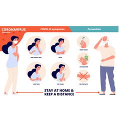 coronavirus symptoms covid prevention sanitary vector image