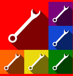 crossed wrenches sign set of icons with vector image