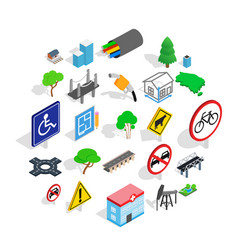 crossroad icons set isometric style vector image
