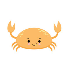 cute cartoon crab isolated on white background vector image
