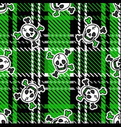 Cute punk skull on plaid background pattern vector