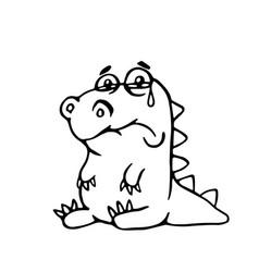 cute sad dragon cute sad dragon vector image
