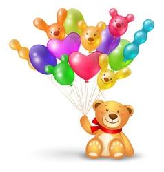 Cute teddy bear with a bunch of balloons vector