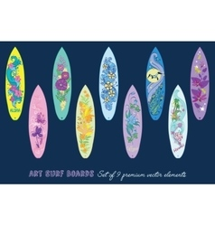 Decorative Surf Boards Set 9 Elements vector