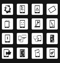 Device repair symbols icons set squares vector