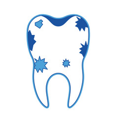 dirty tooth with root in blue silhouette vector image