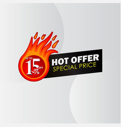 Discount up to 15 off hot offer special price vector