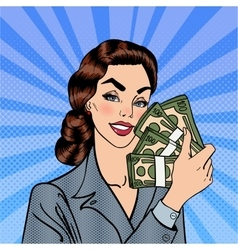 Excited Business Woman Holding Dollars Pop Art vector image