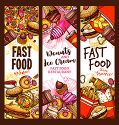 Fast food burger drink and dessert sketch banner vector