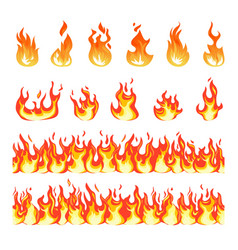 fire flame burning firex seamless border cartoon vector image