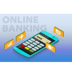 Flat 3d isometric clipart online banking vector image