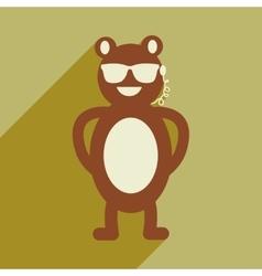 Flat icon with long shadow bear cartoon vector