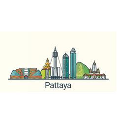 flat line pattaya banner vector image