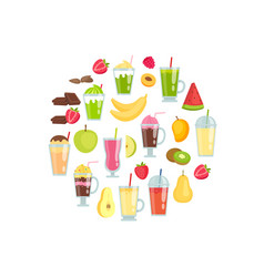 flat smoothie elements in circle shape vector image