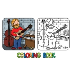 Funny musician or guitarist Coloring book vector image