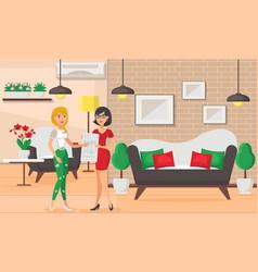 Furnishings living room flat vector