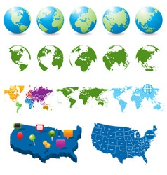 globes and maps collection vector image