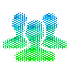 Halftone blue-green users icon vector