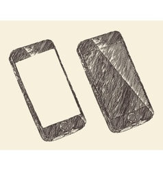 Hand Drawn Black Mobile Phone Sketch vector image