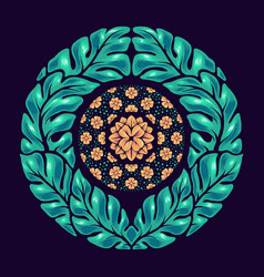 hand drawn leaf mandala vector image
