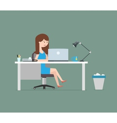 Happy woman working with laptop Business in flat vector