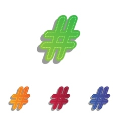 Hashtag sign Colorfull applique vector