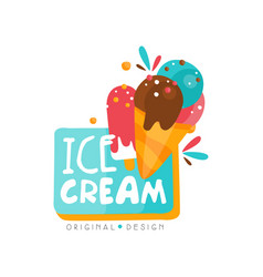 ice cream shop logo design template label for bar vector image