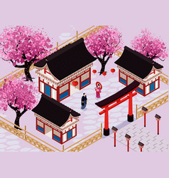 Isometric japan composition vector