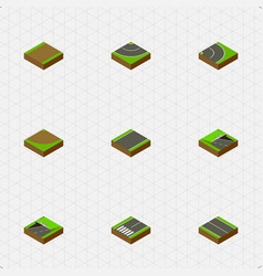 Isometric road set of unilateral turn road and vector
