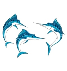 Jumping blue marlin fish characters vector image