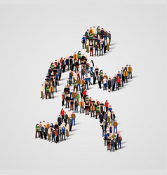 large group people in running man form vector image