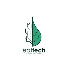 leaf tech logo vector image