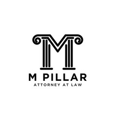 letter m pillar attorney at law logo design vector image