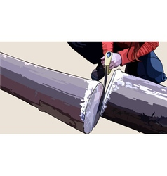 Man sawed log handsaw vector