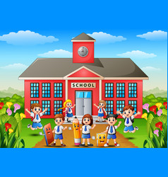 Many school children in front of school building vector