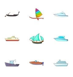 Maritime transport icons set cartoon style vector image