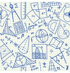 Mathematical doodles seamless pattern vector image