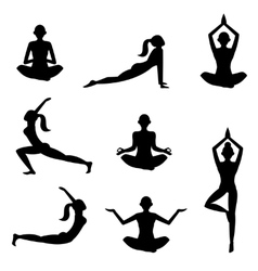 meditation silhouettes on white background vector image