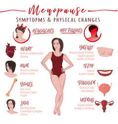 Menopause symptoms and physical changes vector