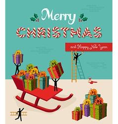Merry Christmas creative teamwork concept vector